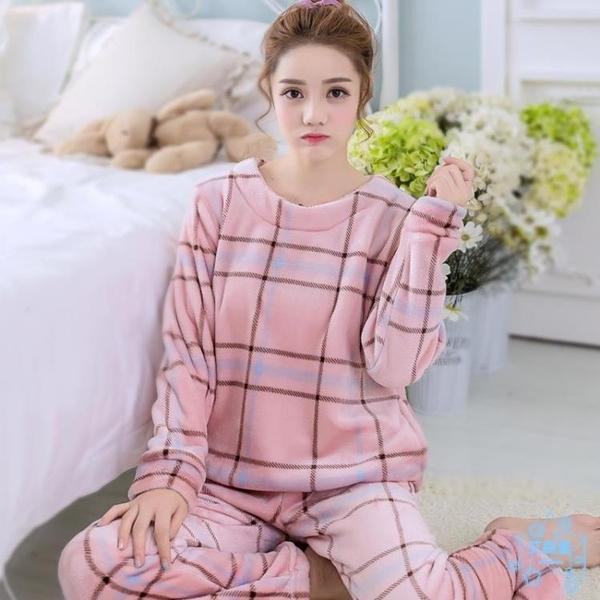 睡衣  秋冬珊瑚絨睡衣女冬季長袖保暖加厚加絨毛絨可愛法蘭絨家居服套裝  艾森堡
