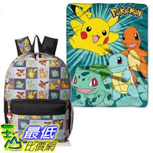 [美國直購] 神奇寶貝 精靈寶可夢周邊 Pokemon B01J917ETA 17吋 Kids Backpack and Plush Throw Blanket - 2 Piece Set