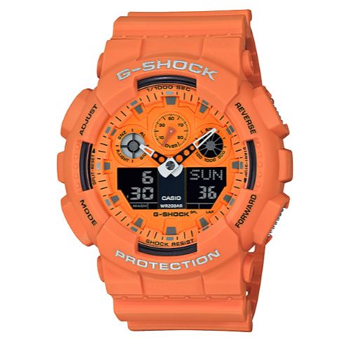 CASIO手錶專賣店  CASIO G-Shock GA-100RS-4A 搖滾復古電子錶 樹脂錶帶 活力橙 防水200米