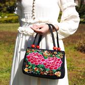刺繡包2019民族風刺繡包中老年女包繡花帆布包中年包女包媽媽手提包聖誕交換禮物