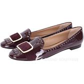 Salvatore Ferragamo LILAS 鉚釘飾邊拼接漆皮流蘇樂褔鞋(紫紅色) 1530418-B6