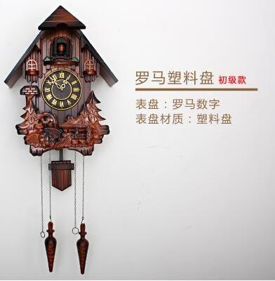 歐式布穀鳥掛鐘音樂報時田園實木手工雕刻兒童創意客廳鐘錶咕咕鐘【羅馬塑料盤】