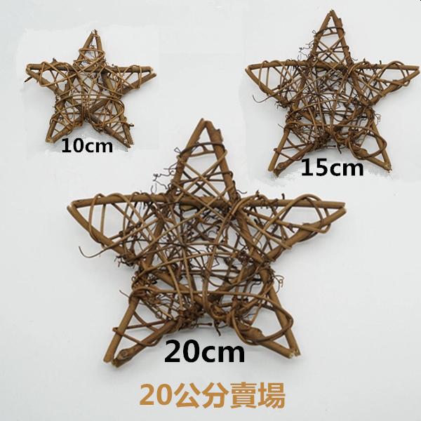 永生花DIY配件材料,藤環聖誕花圈,星星20公分