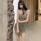 性感洋裝 夏季新款設計感露肩單肩吊帶連衣裙修身開叉包臀裙子女裝 莎瓦迪卡