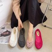 涼鞋2021年新款女士夏季百搭平底塑料鏤空洞洞鞋防滑軟底護士涼鞋 韓國時尚 618