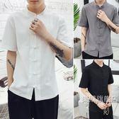 唐裝中國風男裝中式襯衫唐裝亞麻盤扣短袖寬鬆復古風冬季棉麻青年襯衣M-5XL3色