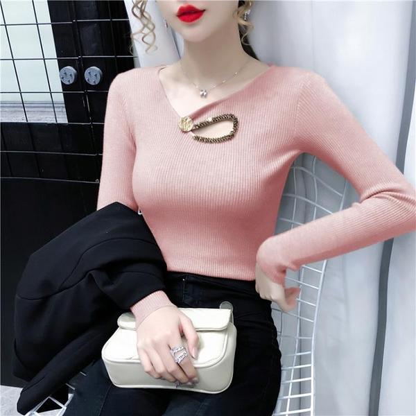 新品特價 秋冬季新款韓版修身釘鉆鏤空v領長袖針織衫女套頭上衣打底衫