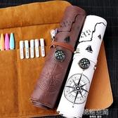 藏寶圖文具盒網紅復古簡約多功能彩鉛卷筆袋 韓國高中生男女孩筆簾創意大容量鉛筆盒