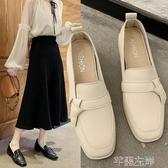 樂福鞋英倫女鞋中跟小皮鞋女一腳蹬鞋子女年網紅仙女風單鞋溫柔 芊墨左岸