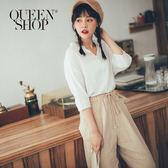 Queen Shop【01096374】小V領五分袖上衣*現+預*