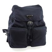 PRADA 深藍色防水帆布雙口袋束口後背包(九八成新)