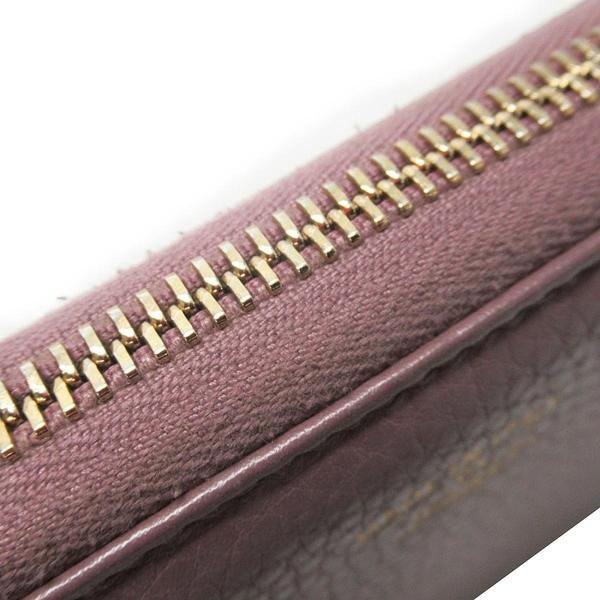 GUCCI 古馳 藕紫色牛皮竹節流蘇ㄇ型拉鍊長夾 Bamboo Tassel Wallet【BRAND OFF】