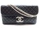 CHANEL 黑色菱格紋羊皮珍珠造型鍊帶肩背包  【BRAND OFF】