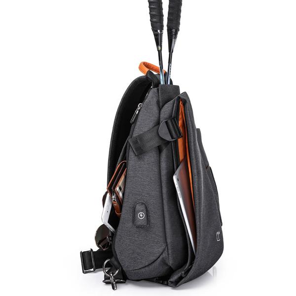 肩背包/胸包滌綸-黑-時尚披風 男包 情人節生日禮物【ARSIM愛型包包】