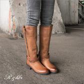 真皮長靴-R&BB手工牛皮製*擦色交叉綁帶2way 雙拉鍊個性低跟騎士靴