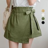 MIUSTAR 側綁結花苞鬆緊腰假口袋斜紋布褲裙(共4色)【NJ0302】預購