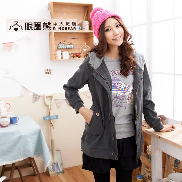 連帽外套--冬天暖呼呼必備繩索釦造型拉鍊收腰連帽毛絨外套(黑.灰M-2L)-J152眼圈熊中大尺碼