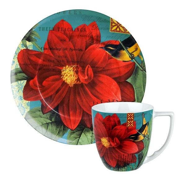 德國Waechtersbach經典彩繪系列390ml馬克杯+21cm盤組-Impressions紅花