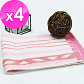 【法式寢飾花季】優雅生活-100%純棉彩條粉色運動毛巾(HJ0511)X4件組