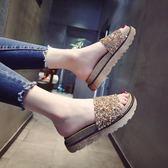 拖鞋女夏2018新款鬆糕厚底一字拖韓版時尚水鉆外穿涼拖平底沙灘鞋