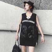 球衣 原宿風無袖t恤女籃球服夏字母印花背心上衣中長款寬鬆bf運動體恤 麗人印象 免運