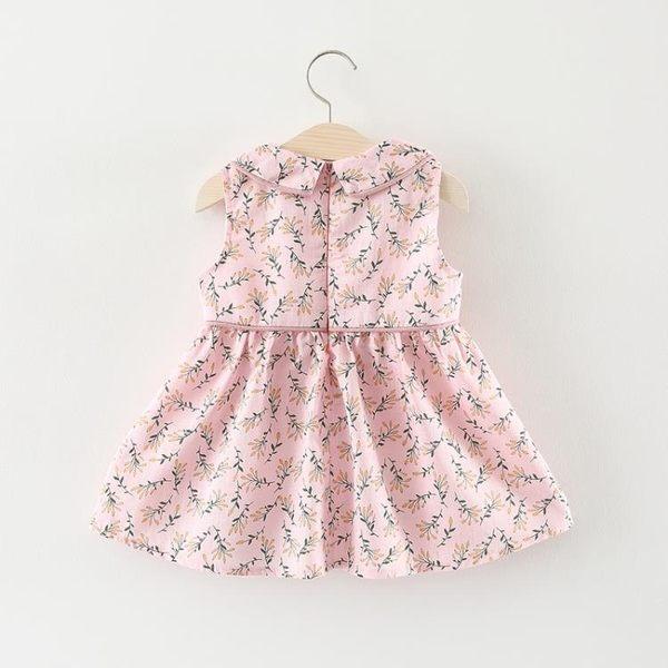 女童洋氣裙子夏天兒童小女孩碎花無袖連身裙嬰兒女寶寶夏裝公主裙夢想巴士