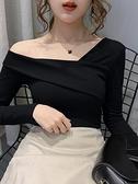 上衣 2021秋裝新款洋氣網紅性感露肩一字斜領鎖骨內搭上衣長袖t恤女潮 歐歐