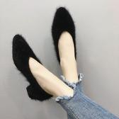 單鞋女韓版百搭中粗跟毛毛鞋尖頭淺口懶人豆豆鞋子 沸點奇跡