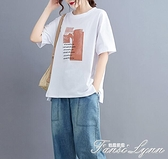 大碼女裝寬鬆夏裝短袖T恤女2021新款韓版百搭遮肚子顯瘦純棉上衣 范思蓮恩