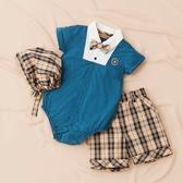【金安德森】春夏彌月禮盒-紳士男孩假二件短褲套裝-藍綠色