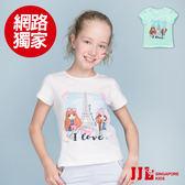 網路獨家-JJLKIDS 女童 巴黎女孩手繪棉質短袖T恤上衣(2色)