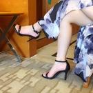 高跟涼鞋一字扣帶涼鞋夏季高跟鞋細跟黑色絨面女鞋【全館免運】