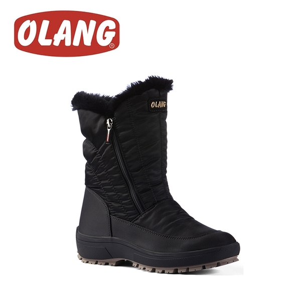 【OLANG 義大利 MONICA OLANTEX 雙拉鍊防水雪靴《黑》】1604/保暖/滑雪/雪地