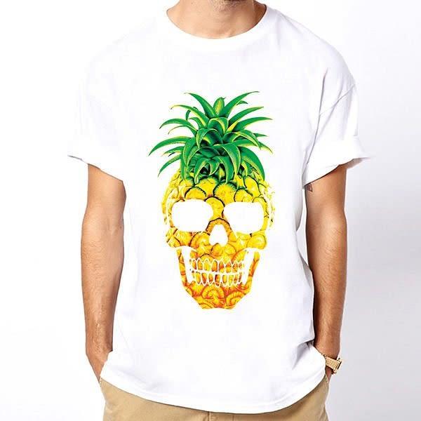 【Dirty Sweet】PINEAPPLE SKULL 短袖T恤-白色 鳳梨骷髏圖案相片潮流趣味幽默玩翻 390