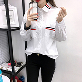 白色長袖襯衫~簡約學院風白襯衫時尚韓版女裝基本款白襯衣DC131衣時尚