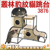 ◆MIX 米克斯◆ IRIS .貓咪遊樂場叢林系列~3876 豪華森林豹紋貓跳台~組裝超簡