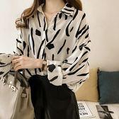 DE SHOP~(XA-6177)印花襯衫幾何遮肚長袖上衣百搭襯衫