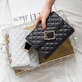 錬條包包包女包2021新款網紅黑色小斜背包女菱格錬條包時尚百搭側背包 小天使