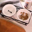 貓碗架貓咪用品貓碗不銹鋼碗架寵物貓糧食盆 嬡孕哺