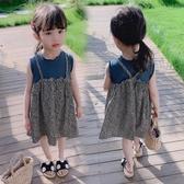 女童碎花裙 2020夏裝女童連衣裙女碎花假2件連衣裙無袖連衣裙1-3-6歲【夏季新款】