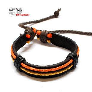 三色油麻彩繩皮手鏈