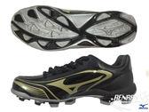 美津濃 MIZUNO 棒壘球鞋(黑x金) 寬楦型 SELECT 9  膠釘鞋 11GP172050【 胖媛的店 】