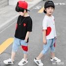 夏季男童套裝2019新款兒童短袖牛仔兩件...
