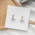【NiNi Me】耳環 氣質優雅巴洛克風珍珠水鑽鋯石925銀針垂墬耳環 耳環 N0543