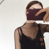 大碼蕾絲打底衫女長袖打底網紗內搭上衣鏤空性感透明【橘社小鎮】