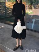 秋裝女裝文藝復古風顯瘦高領修身純色百搭長袖洋裝/連身裙學生中長裙子
