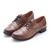 MICHELLE PARK 經典英倫學院風 質感素面真皮牛津鞋-可可色