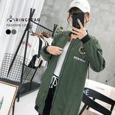 防風外套--個性軟膠裝飾織帶標語羅紋縮口袖襬夾克外套(黑.綠XL-4L)-J318眼圈熊中大尺碼
