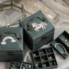 復古麂皮絨布首飾盒項錬耳釘收納禮品盒簡約多層大容量手飾品盒 小時光生活館