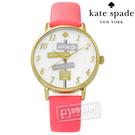 kate spade / KSW1127 / Metro 紐約時尚品味指標真皮手錶 白x金框x螢光粉 34mm